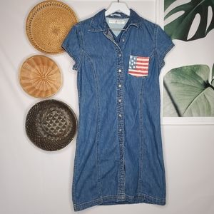 Vintage Tommy Hilfiger Denim Dress American Flag